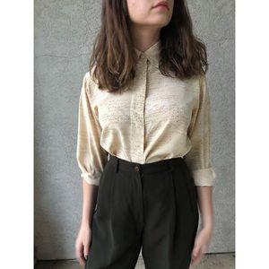 VINTAGE | Pure Silk Neutral colored blouse